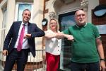 First Minister Paul Givan pictured with Renee Quinn and Rev Bill Shaw during a visit to PIPS Charity in North Belfast.