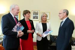 The First Minister, deputy First Minister and Health Minister pictured with Professor Rafael Bengoa
