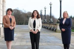 First Minister Arlene Foster and deputy First Minister Michelle O'Neill with Margaret Bateson, chief executive of Victims and Survivors Service