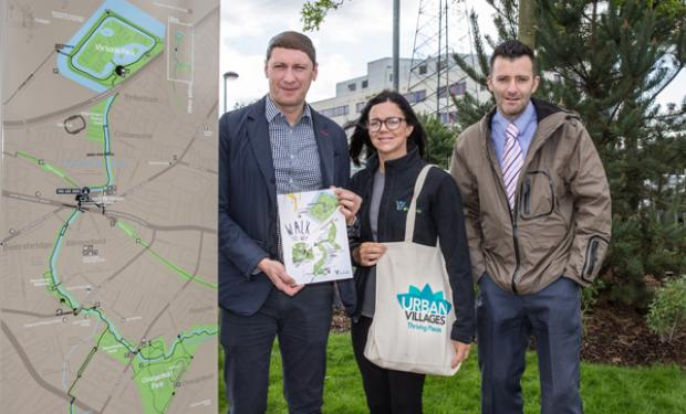 Sandy Uprichard and Wayne Irvine from the Urban Village Initiative team with Michele Bryans, Connswater Community Greenway Engagement and Volunteer Manager, Eastside Partnership at the launch of the Connswater Community Greenway 'green walking' map sponsored by the Urban Village Initiative.
