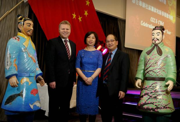 Junior Minister Alastair Ross pictured with Madam WANG, the Consulate General of the People's Republic of China in Belfast and Mr Danny Wong MBE, Chairperson of the Chinese Chamber of Commerce in NI at a gala dinner in Belfast to celebrate the Chinese New