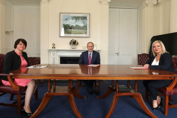 The First Minister Arlene Foster and deputy First Minister Michelle O'Neill pictured with Taoiseach Micheal Martin