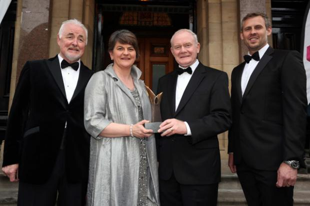 First Minister, Arlene Foster and the deputy First Minister, Martin McGuinness pictured with Terence Brannigan, Chairman Tourism NI, Brian Beattie, Director of Marketing, Tennent's NI, Terence Brannigan, Chairman Tourism NI, at the NI Tourism Awards 2016.