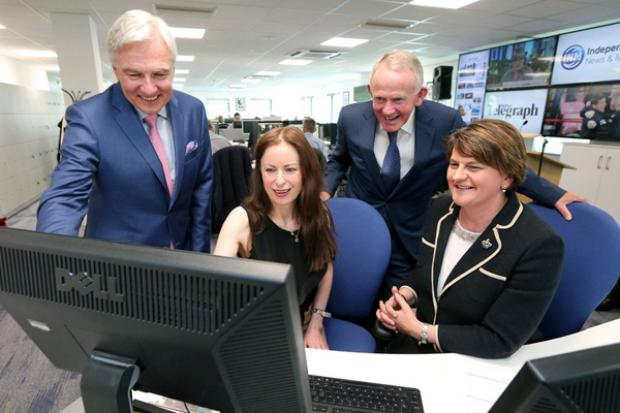 The First Minister is pictured with Len O'Hagan, Board Member Independent News & Media PLC, Gail Walker, Editor, Belfast Telegraph and Leslie Buckley, Chairman, Independent News & Media PLC.