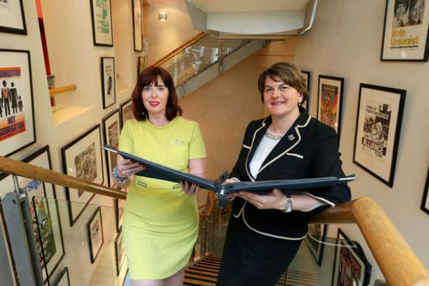 First Minister pictured with Julie Andrews, Director of Linenhall Library at the launch event.