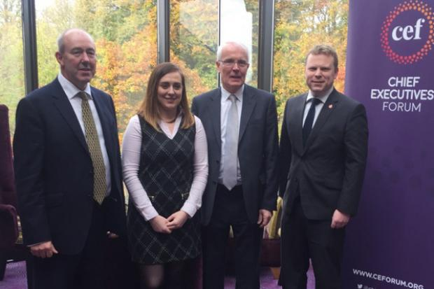 Pictured (L-R) are: David Cartmil, Director of Chief Executives Forum, Junior Minister Megan Fearon, Stephen Peover, Chair of Director of Chief Executives Forum and Junior Minister Alastair Ross