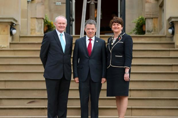 The First Minister and deputy First Minister pictured with Colombian President, Juan Manuel Santos