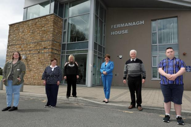 The First Minister Arlene Foster pictured during her visit to the Association For Real Change in Enniskillen.