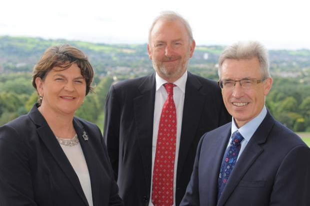 First Minister pictured with Marcus Bryson, Chairman of UK Aerospace hub and Paul Everitt, Chairman of ADS NI