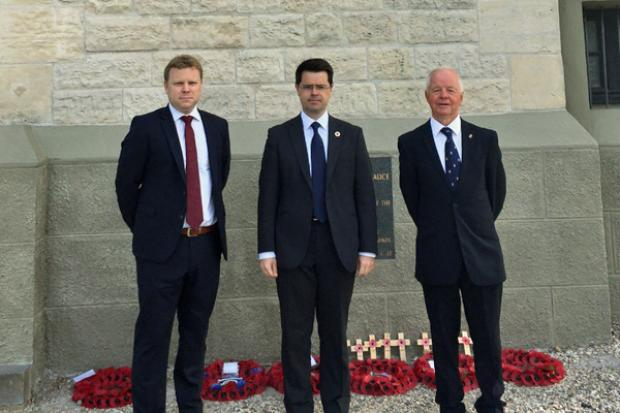 Junior Minister Alastair Ross with James Brokenshire, Secretary of State for Northern Ireland and Teddy Colligan