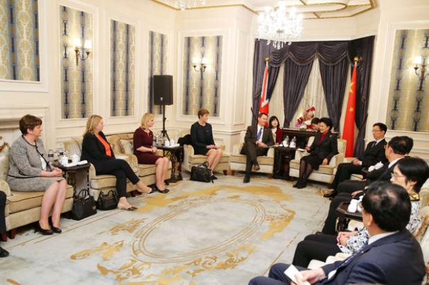 First Minister met with theÊChinese Vice Premier, Madam Liu Yangdong in Shanghai at the start of the UK-China People to People summit along with Ambassador  Dame Barbara Woodward, Ministers Jeremy Hunt, Justine Greening and Karen Bradley.
