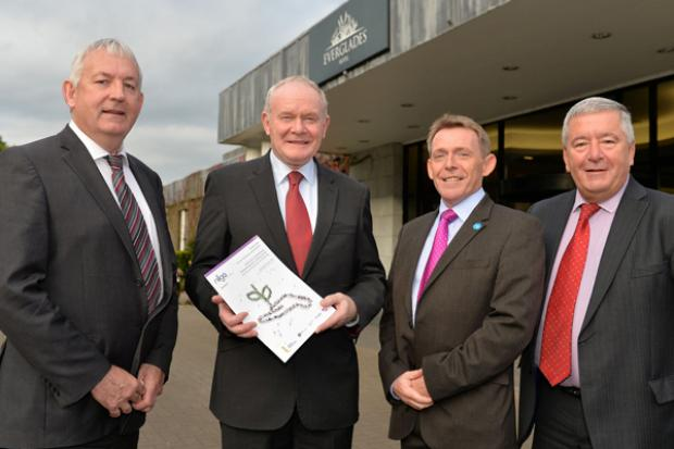 The deputy First Minister pictured outside the NILGA Annual Conference