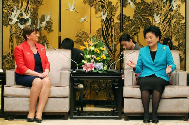 First Minister Arlene Foster pictured at her meeting with Chinese Vice Premier Madam Liu Yandong at the Dongzhou State Guest House in Shanghai.
