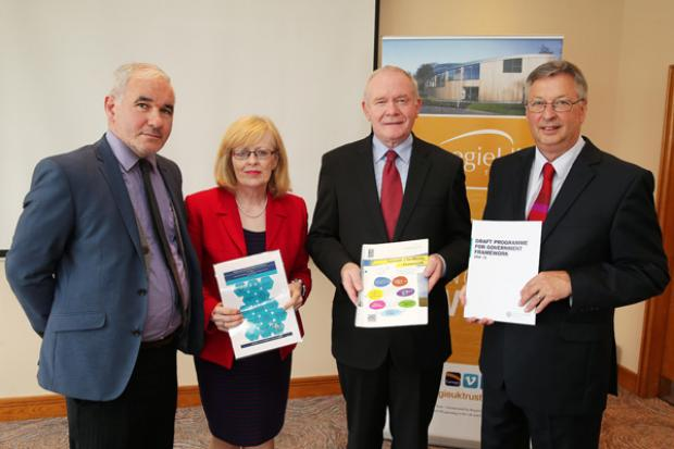 The deputy First Minister, Martin McGuinness is pictured with Peter Doran, Law School, Queens University Belfast, Aideen McGinley co-chair of the Carnegie Roundtable on Measuring Wellbeing and Martyn Evans, Chief Executive of the Carnegie Trust