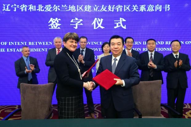 First Minister Arlene Foster is pictured during a meeting at Shenyang, Liaoning in China with Vice Governor Bing Zhigang