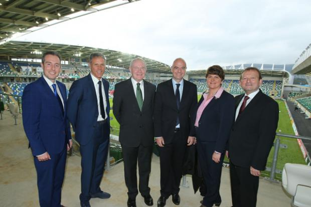 First Minister and the deputy First Minister pictured with Communities Minister Paul Givan, Marco Van Basten, FIFA President, Gianni Infantino and Irish FA President, David Martin before the official opening ceremony.
