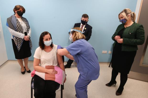 Ministers pictured during their visit to the vaccination centre at the Ulster Hospital in Dundonald.