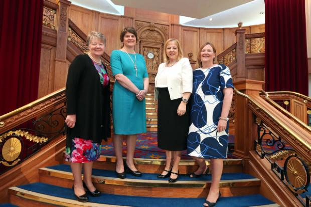 The First Minister is pictured with Ellvena Graham, Chair of Electricity Supply Board & Chair of Waterfront & Ulster Hall Company; Imelda McMillan, Chair of WIB, & partner in O'Reilly Stewart Solicitors, Roseann Kelly, Chief Executive of Women in Business