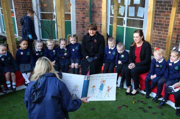 Pictured with the Ministers are pupils from Blythefield during their outdoor story time.