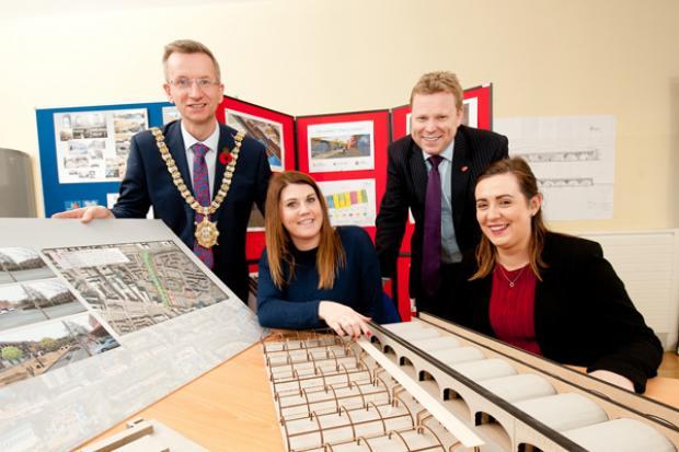 Pictured are Lord Mayor of Belfast, Alderman Brian Kingston, Kathleen McCarthy, Community Regeneration Officer MDA, Junior Minister Alastair Ross and Junior Minister Megan Fearon.