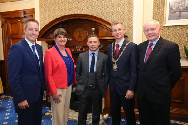Carl Frampton is pictured with Minister for Communities, Paul Givan, First Minister Arlene Foster, Lord Mayor of Belfast Brian Kingston and deputy First Minister Martin McGuinness