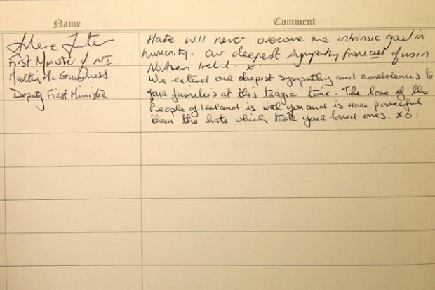 Orlando book of condolence signed by the First Ministe and deputy First Minister