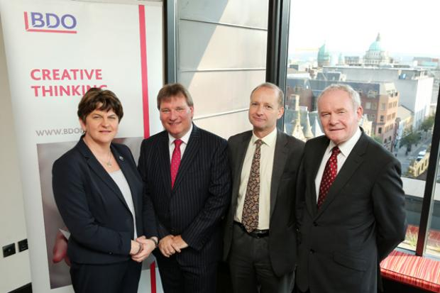 Pictured left to right are First Minister, Arlene Foster, Peter Burnside, Managing Partner BDO NI, Ashley Carter, BDO LLP London and deputy First Minister, Martin McGuinness‎.