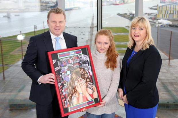 Junior Minister, Alastair Ross and Celine McStravick, Chair of Northern Ireland Anti-Bullying Forum pictured Hannah Rachel Storey (15), Crumlin Integrated College, Co. Antrim winner of the Individual without Senior Adult Support Category.