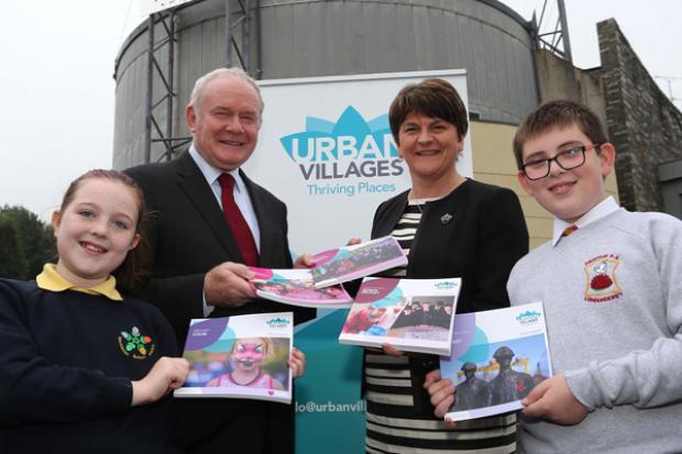 Ministers pictured with local school children Eva McDaid (Gaelscoil Eadain Mhoir) and Sam Hughes (Fountain Primary School)