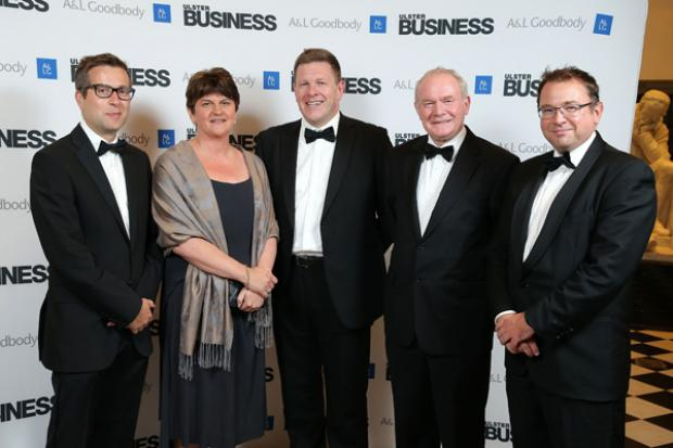 Pictured (L-R) David Elliott, Ulster Business Magazine Editor, First Minister Mark Thompson, Head of Belfast Office, A&L Goodbody, deputy First Minister and Peter Stafford, Chairman, A&L Goodbody NI