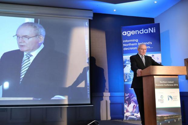 Deputy First Minister, Martin McGuinness pictured speaking at the Agenda NI Economic Conference 2016 in the City Hotel, Derry.
