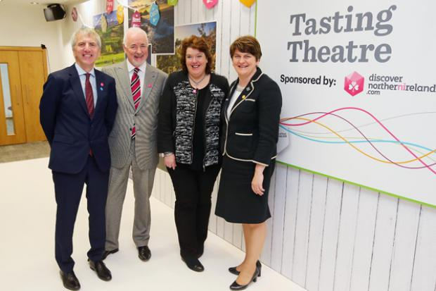 Pictured with the First Minister and Finance Minister are Terence Brannigan, Chairman of Tourism NI and Chef Paula McIntyre.