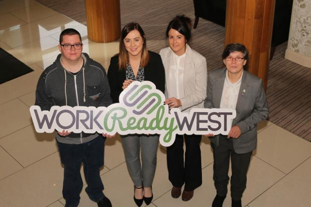 Pictured (L-R) are: Marcus Devlin, SIF participant from Strabane, Junior Minister Megan Fearon, Sandra McGonagle, SIF participant from Enniskillen and Joyce Coulter, SIF participant from Omagh.