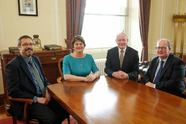 The First Minister and deputy First Minister pictured with Dr Dominic Paul Bryan (joint chair) and Mr Neville Armstrong (joint chair)