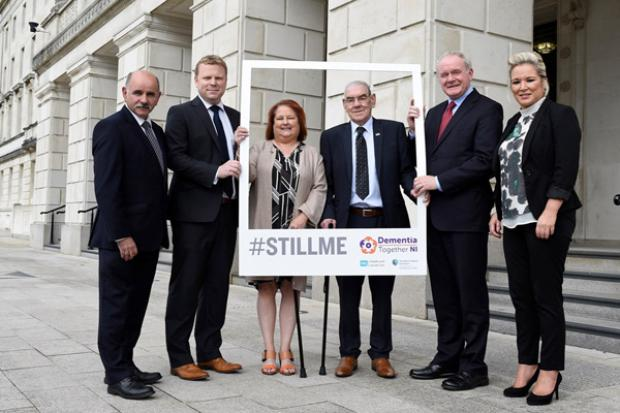 The deputy First Minister, Martin McGuinness, Junior Minister, Alastair Ross & Health Minister, Michelle O'Neill with Robert Wade, Liz Cunningham and Dr Eddie Rooney, Chief Executive of the PHA at the launch of the dementia public information campaign