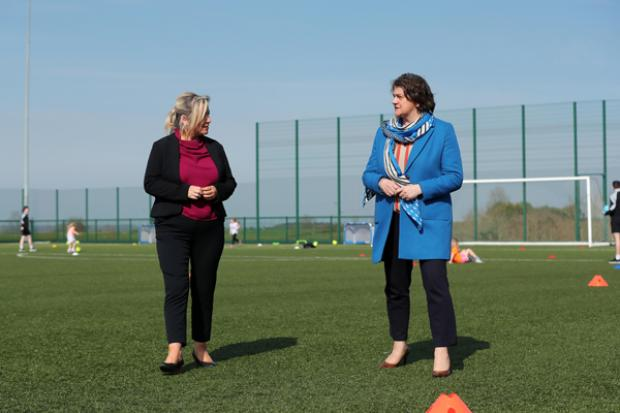 First Minister Arlene Foster, deputy First Minister Michelle O'Neill pictured at the Mid Ulster Sports Arena in Cookstown