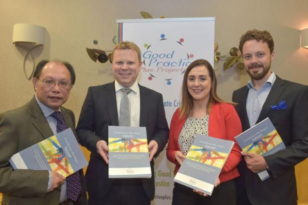Pictured are: Patrick Yu, Executive Director of NICEM, Junior Minister Alastair Ross, Junior Minister Megan Fearon and Pekka Hatonen, Ministry of the Interior, Finland
