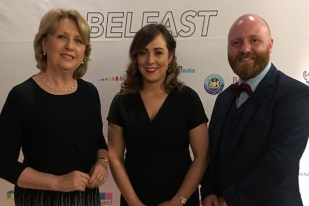 Pictured (L-R) are: Mary McAleese, Junior Minister Fearon and John O'Doherty
