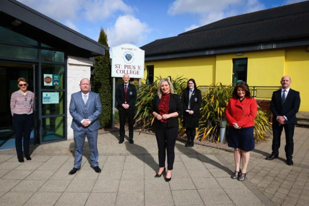 Deputy First Minister Michelle O'Neill pictured during her visit to St Pius X College