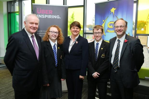 First Minister Arlene Foster, deputy First Minister Martin McGuinness and Education Minister Peter Weir are pictured at the opening of the Arvalee School and Resource Centre at the Strule Shared Education Campus in Omagh.