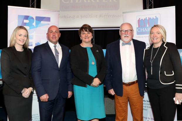 The First Minister is pictured with (l-r) Councillor Sharon Skillen; David Stitt, CEO Charter NI; First Minister Arlene Foster; Drew Haire, Chairperson Charter NI; Caroline Birch, Project Manager