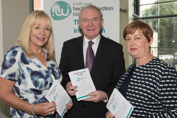 The deputy First Minister pictured at the Northwest Health Innovation Corridor conference