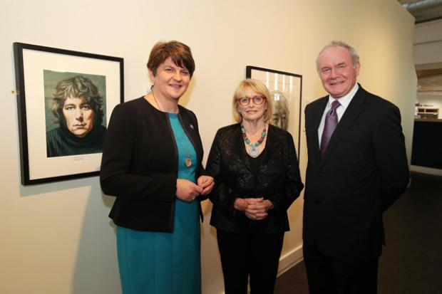 First Minister, Arlene Foster and the deputy First Minister, Martin McGuinness with Marie Heaney, wife of Seamus, at the opening of Seamus Heaney HomePlace in Bellaghy.