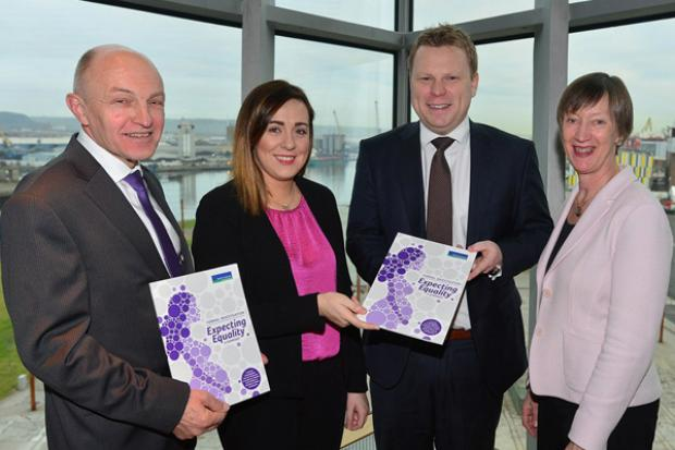 Pictured (l-r) are: Dr Michael Wardlow, Chief Commissioner of the Equality Commission for NI, Junior Minister Megan Fearon, Junior Minister Alastair Ross and Dr. Evelyn Collins CBE, Chief Executive of the Equality Commission for NI