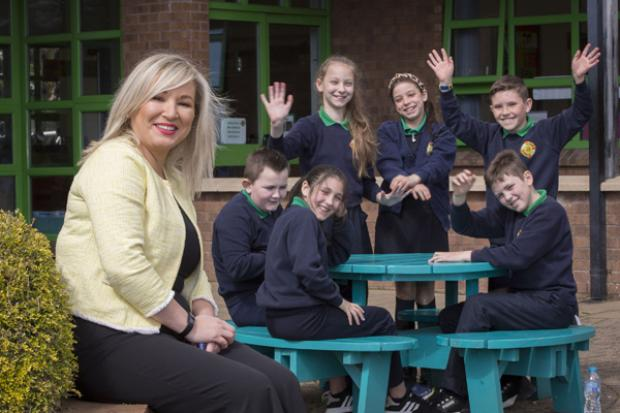 Deputy First Minister Michelle O'Neill pictured during her visit to Primate Dixon Primary School