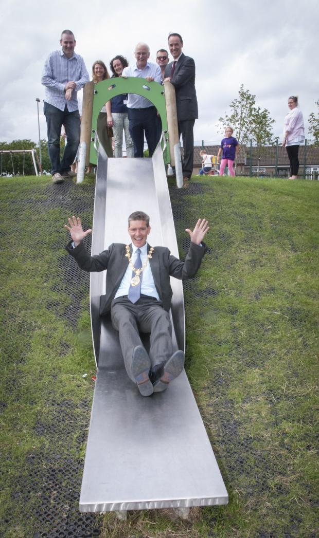 The Mayor of Derry City and Strabane District Council, Councillor, John Boyle, pictured officially opening the new 'Invest in Play' play park in Kilfennan