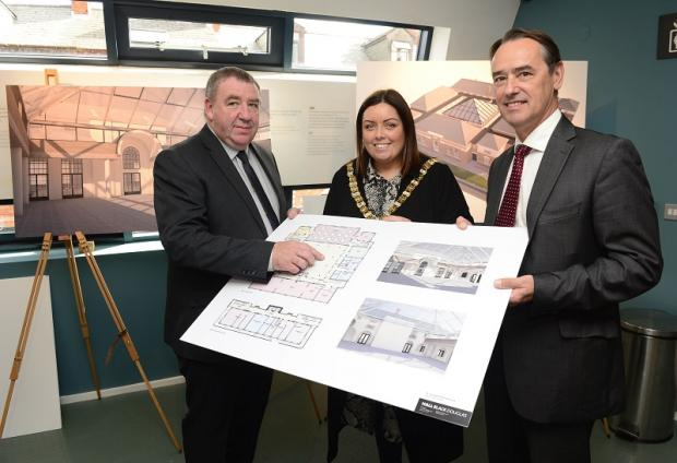 Pictured L-R are: Gerry McConville, Falls Community Council, Lord Mayor Deirdre Hargey and Mark Browne, The Executive Office