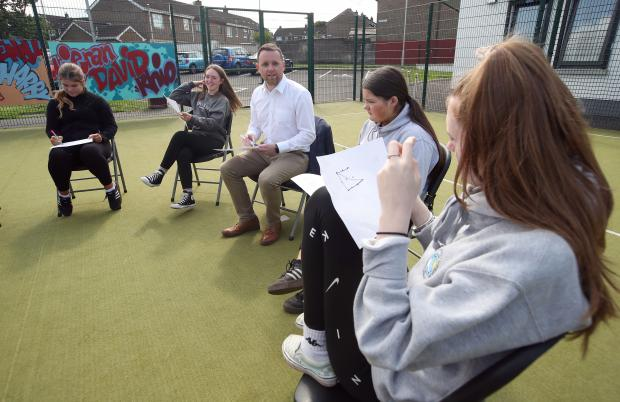 unior Minister Gary Middleton pictured during his visit to Lincoln Courts Youth and Community Association