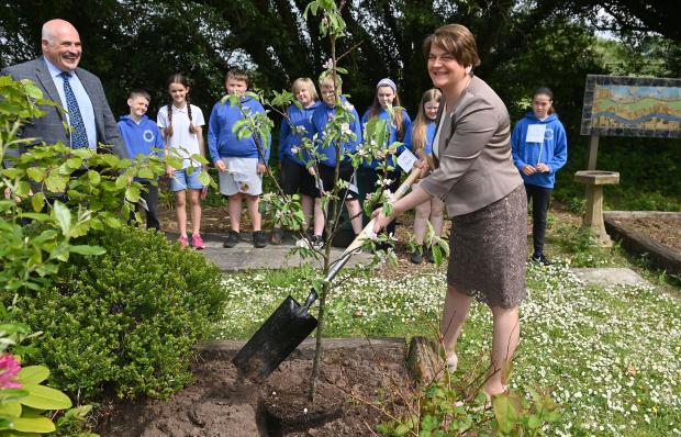 The First Minister joined staff and puplis to plant a tree marking the Centenary of Northern Ireland.