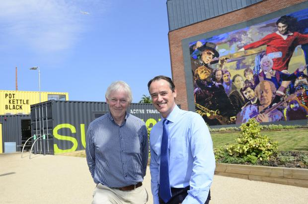 Pictured at the launch of the EastSide Container Park are: Maurice Kinkead, EastSide Partnership and Mark Browne, TEO